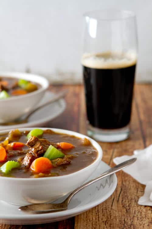 St. Patrick's Day Beef and Guinness Stew in a bowl.
