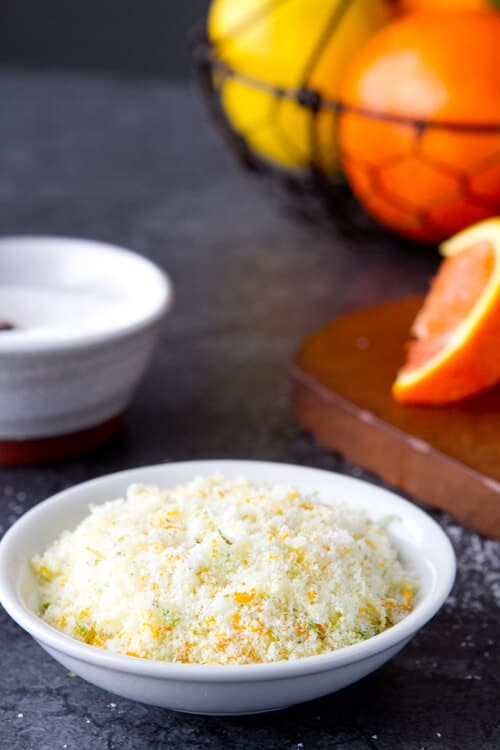 Citrus salt - just salt and citrus zest- an easy no cook recipe
