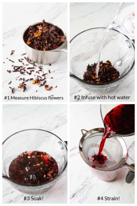 Step by step instructions for how to make hibiscus tea.
