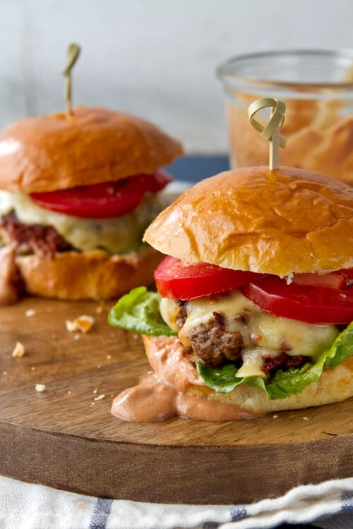 Chorizo Sliders with La Crema Chili Sauce - a spicier version of the classic cheeseburger!
