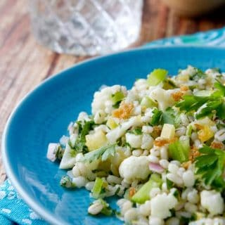 Cold Chopped Cauliflower Salad combines cauliflower, barley, mint and lemon in a healthy make ahead summer side perfect for bbqs and picnics.