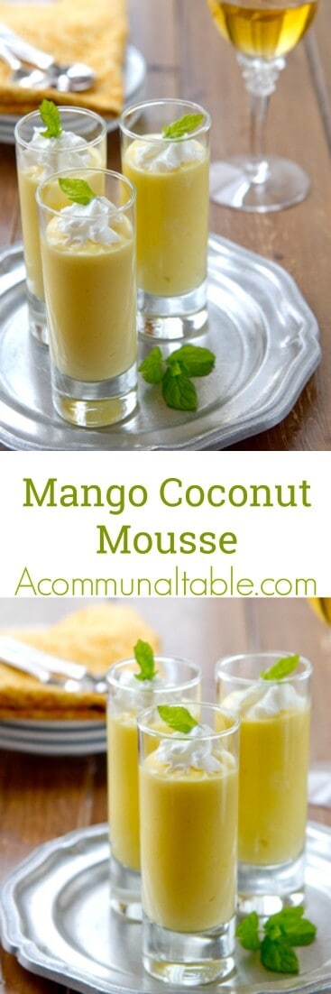 This easy Mango Coconut Mousse dessert recipe is dairy free!  Made with fresh mango, it's tangy, creamy and an ideal make ahead summer dessert!