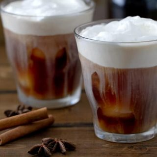 A spiced simple syrup makes this homemade Spiced Iced Coffee recipe an easy and indulgent but not too sweet iced coffee.