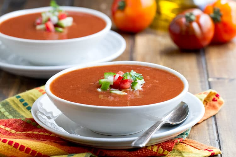 Gazpacho summer soup recipe with tomatoes and cucumbers and lentils.