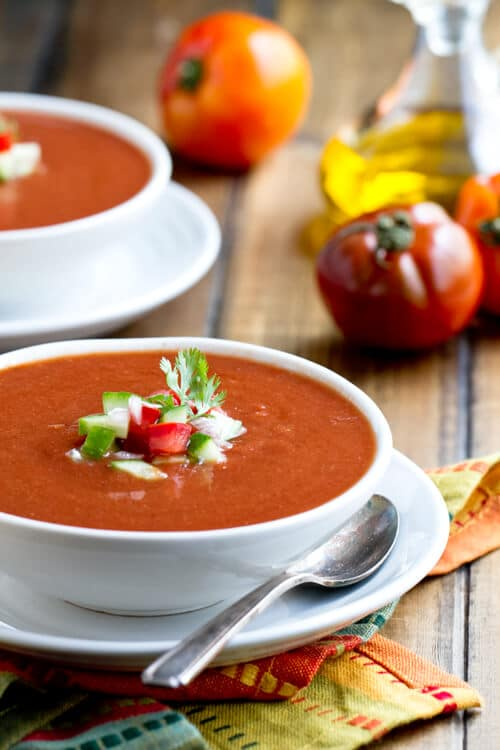This summer gazpacho soup recipe is loaded with vegetables and a suprise ingredient - lentils!