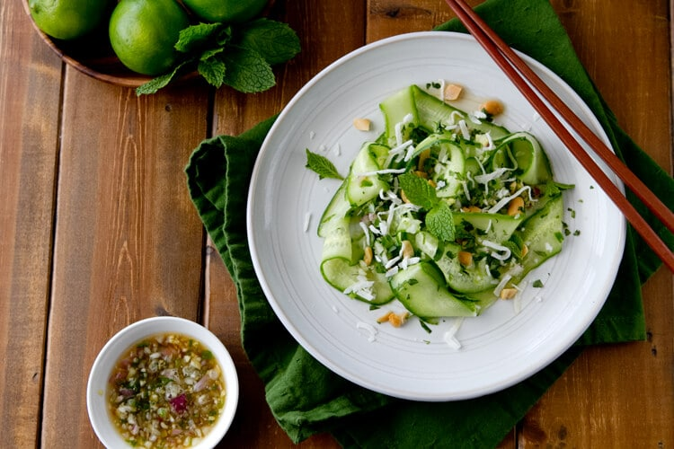 Overhead photo of Thai Cucumber Salad with Lime Dressing