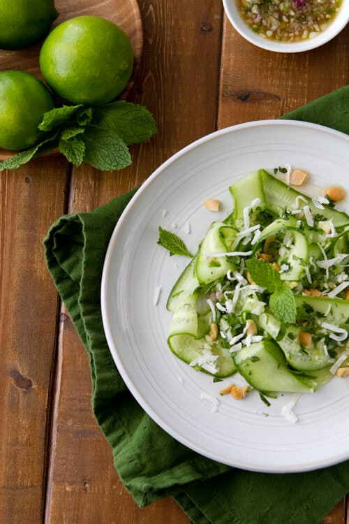 Made with an addictive Thai inspired relish, this easy and versatile Thai Cucumber salad is salty, sweet, spicy and a little sour.