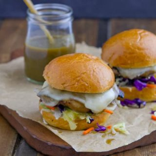 Grilled Chicken Green Chile Sliders with Pineapple Slaw