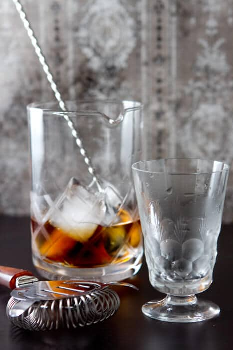 The Adonis Cocktail is a classic and easy cocktail with only 3 ingredients. Nutty sherry and sweet vermouth combine in this stirred low alcohol drink.