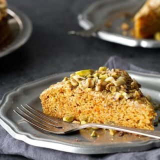 Easy carrot cake recipe with pistachios and cardamon