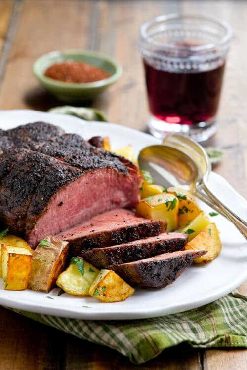 This easy,Coffee and Spice Rubbed Sirloin Roast recipe is an ideal make ahead dinner. Slow roasted in the oven, it comes out juicy and tender.