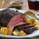 This Coffee and Spice Rubbed Sirloin Roast recipe is an easy and affordable make ahead dinner. Slow roasted in the oven, this roast is tender and juicy!
