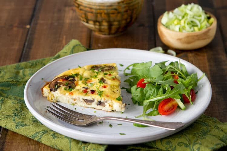 Mushroom, leek and yogurt Fritatta