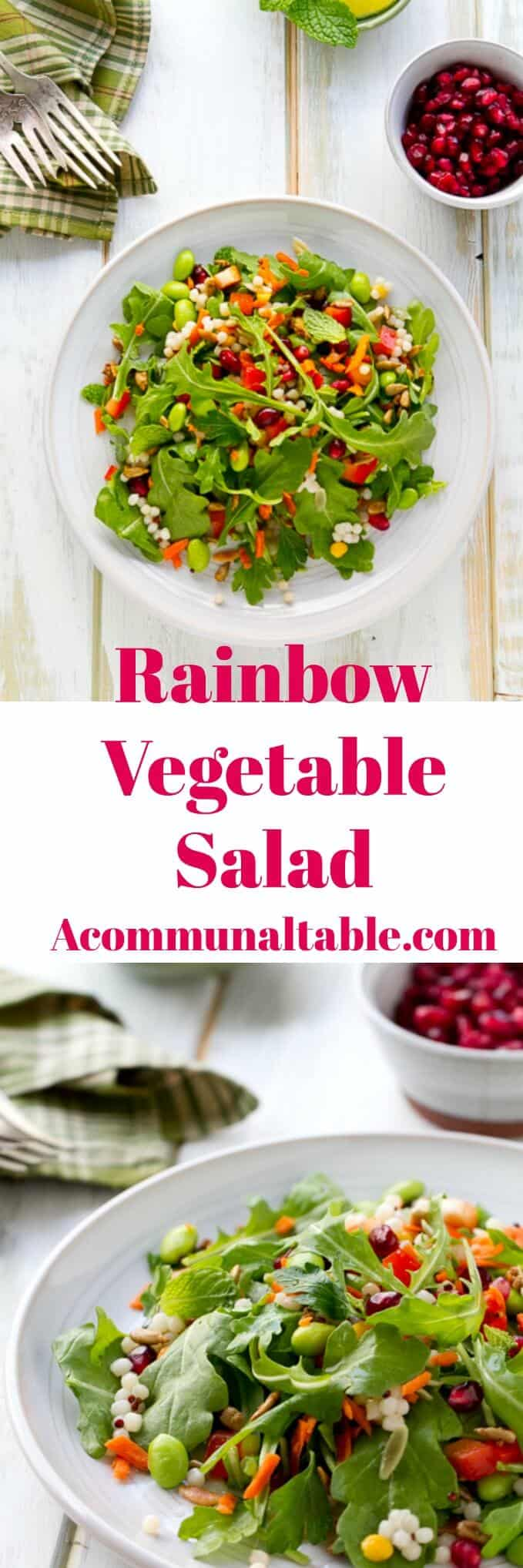 This Rainbow Vegetable Salad with Honey Lime Salad Dressing is an easy vegetarian recipe that is full of legumes, greens, vegetables and grains.