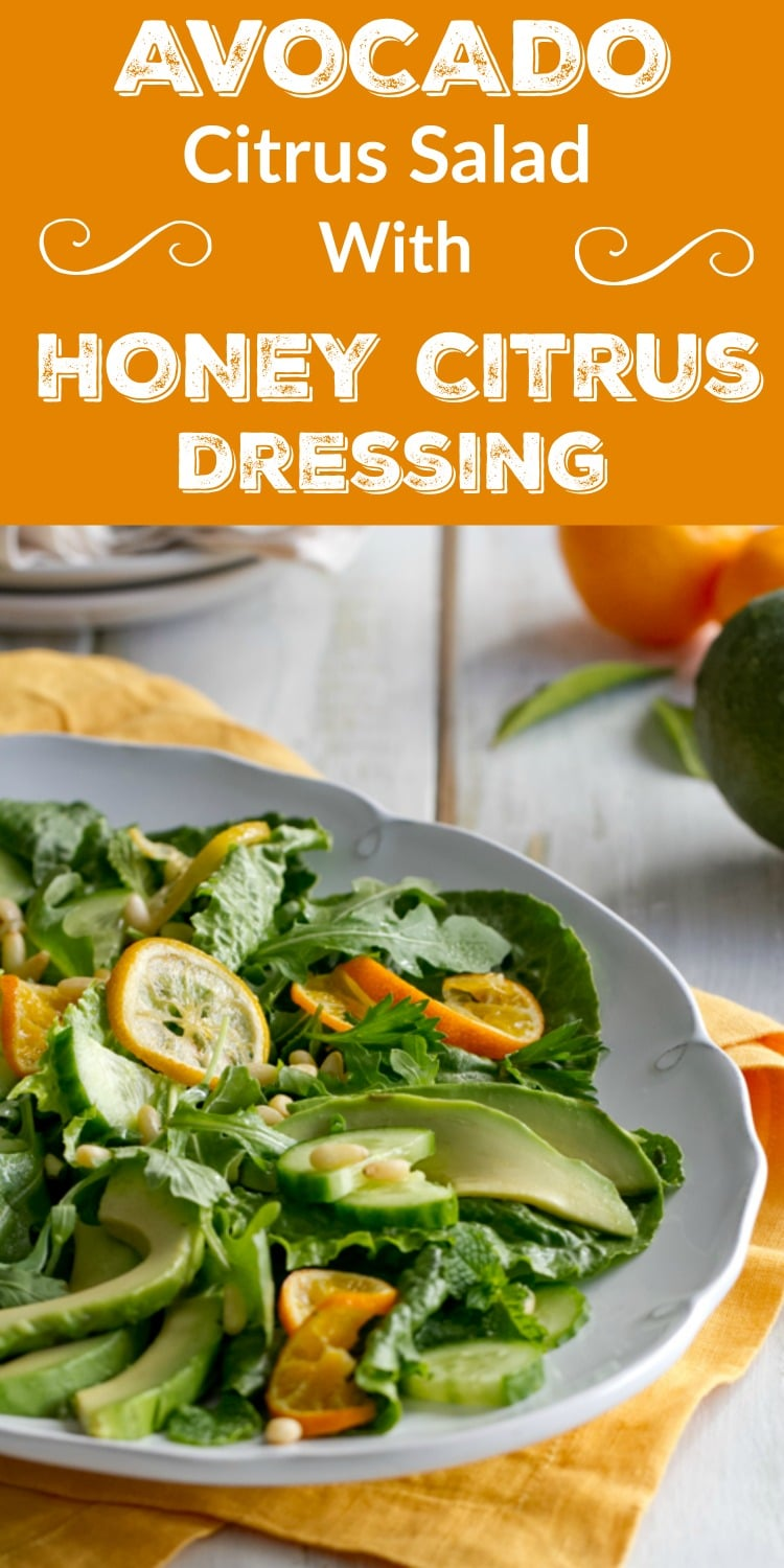 Creamy Avocados and winter citrus bathed in a Honey Citrus Dressing makes a fabulous vegetarian main dish or side salad!