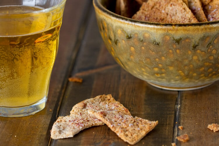 spice roasted pita chips to go with the creamy, sweet and Spicy carrot dip