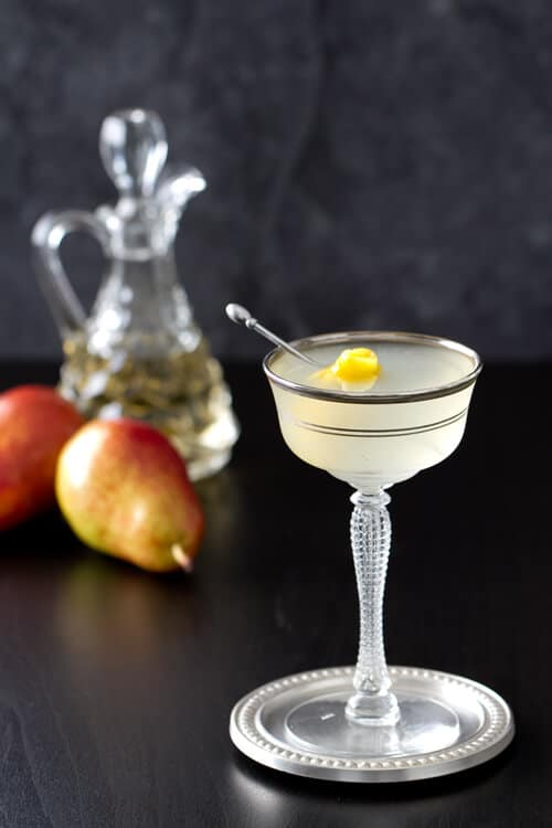 Vanilla pear vodka gimlet a communal table for Pear vodka mixed drinks