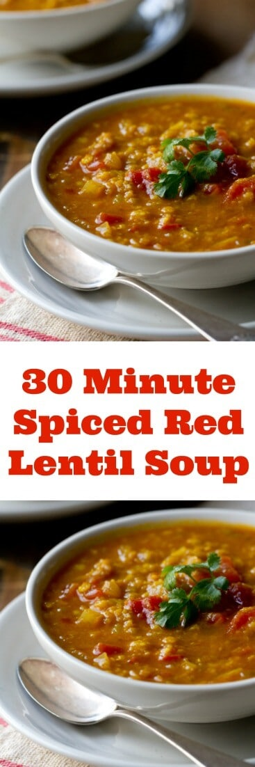 This Indian Spiced Red Lentil Soup recipe is an easy 30 minute healthy vegan/vegetarian recipe that uses two simple techniques for long simmered flavor!
