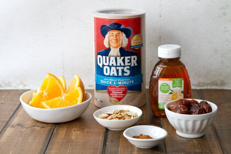 Ingredients for Orange and Date Oatmeal