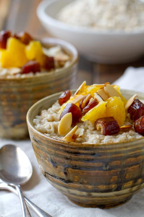 two bowls of Orange and Date Oatmeal