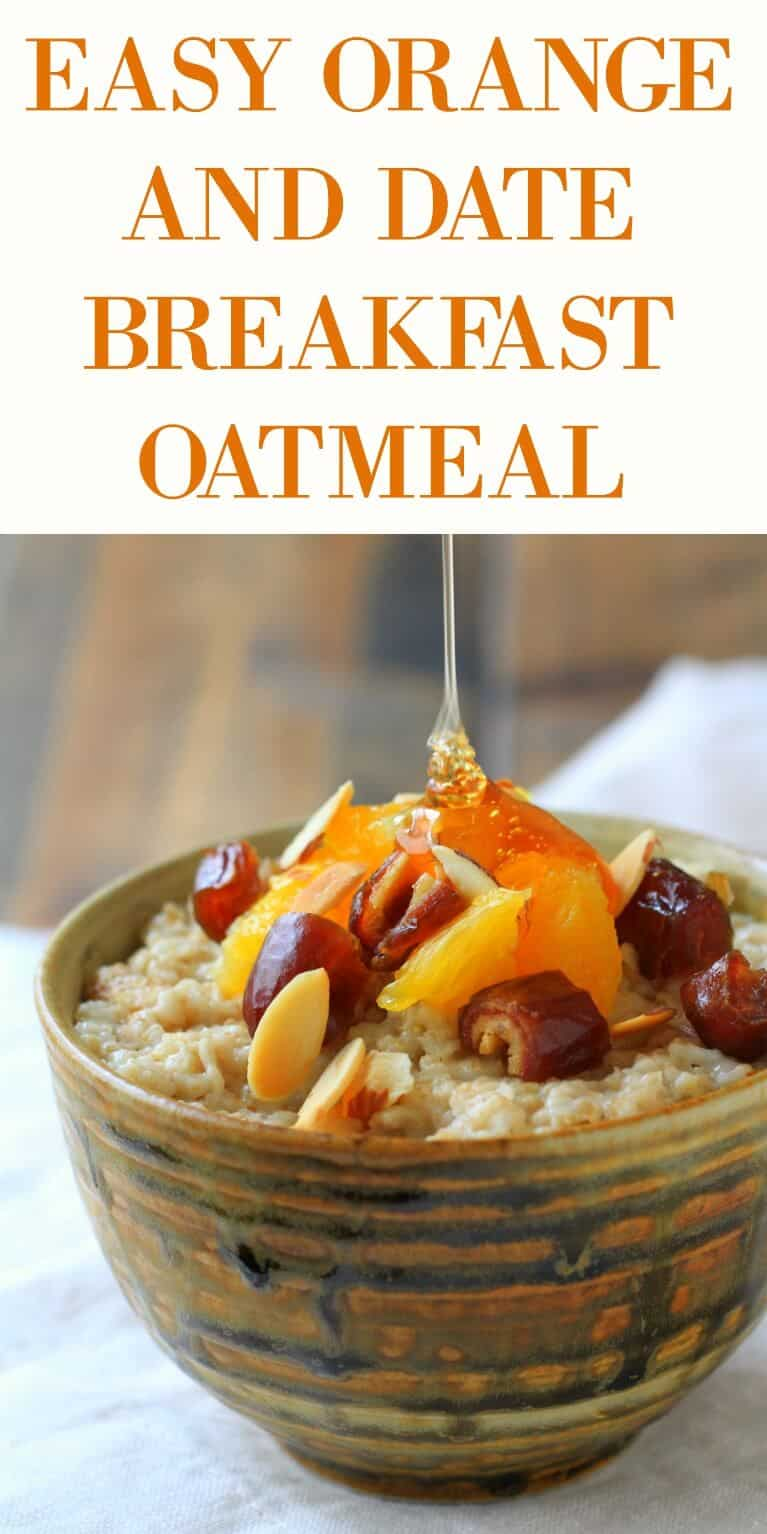 This Orange and Date Oatmeal recipe is quick, delicious and healthy! Sweet and crunchy, it's an easy breakfast or even mid morning snack!