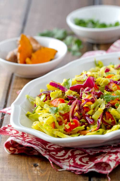 spiced indian coleslaw with fresh turmeric, lime, coconut and chilis