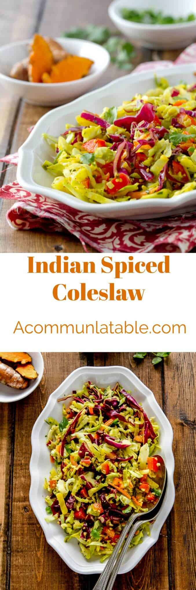 Indian spiced coleslaw is a healthy, no mayo recipe with a lovely turmeric spiced dressing that goes with almost anything!