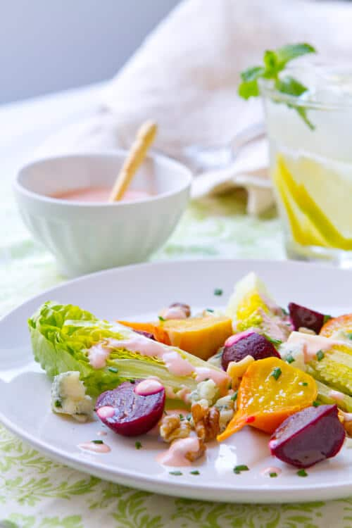 Wedge Salad with Creamy Beet Dressing
