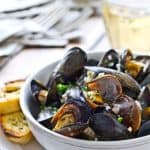 Quick Mussels with Garlic Herb Sauce