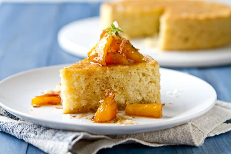 Coconut Cake with Caramelized Pineapple, Rum and Lime Syrup