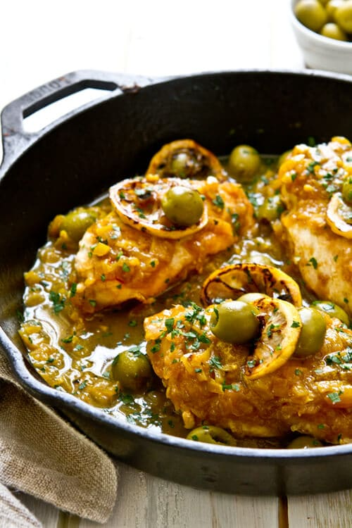 One Pan Moroccan Lemon Olive Chicken A Communal Table