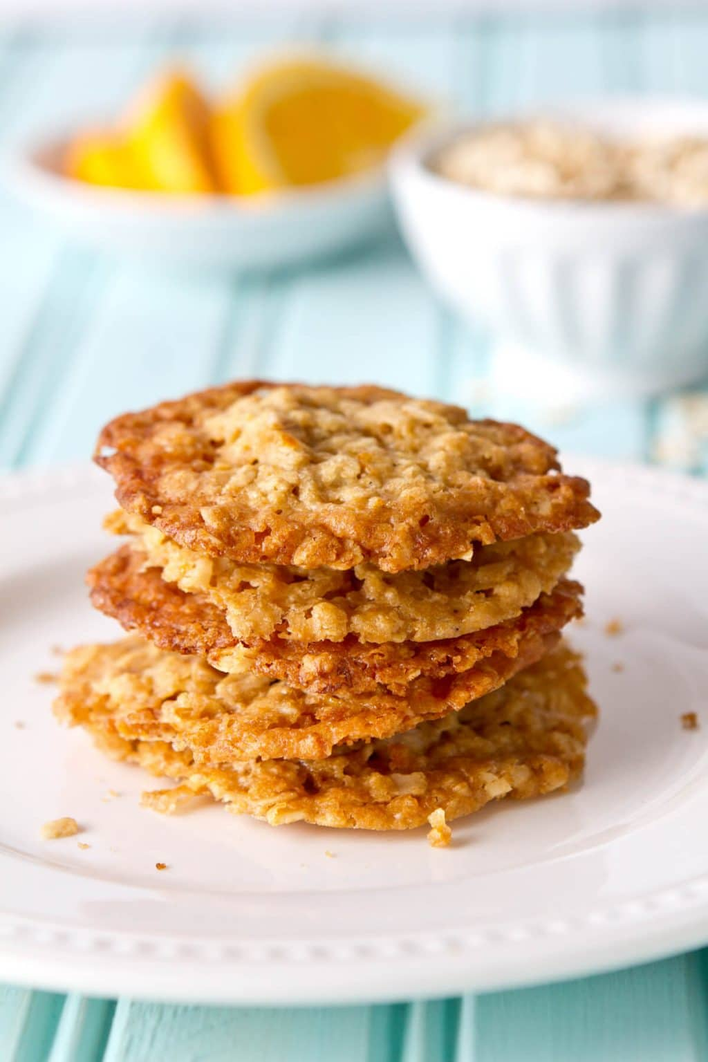 Crispy and chewy Orange and Ginger Oatmeal Crisps