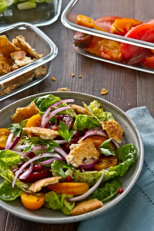 Pomegranate seeds, molasses and sumac provide a sweet and tart riff on the classic in this Pomegranate Fattoush Salad