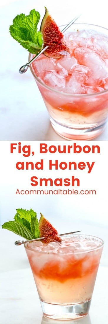Fig season calls for a cocktail like this Fig, Bourbon and Honey Smash! Figs, bourbon, honey, lime and mint are combined in this make ahead summer cocktail!
