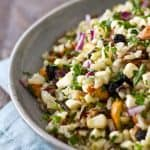 This cold Corn and Blueberry Wild Rice Salad recipe is sweet, salty and crunchy with a light, refreshing vinaigrette. A healthy side to eat all summer long!