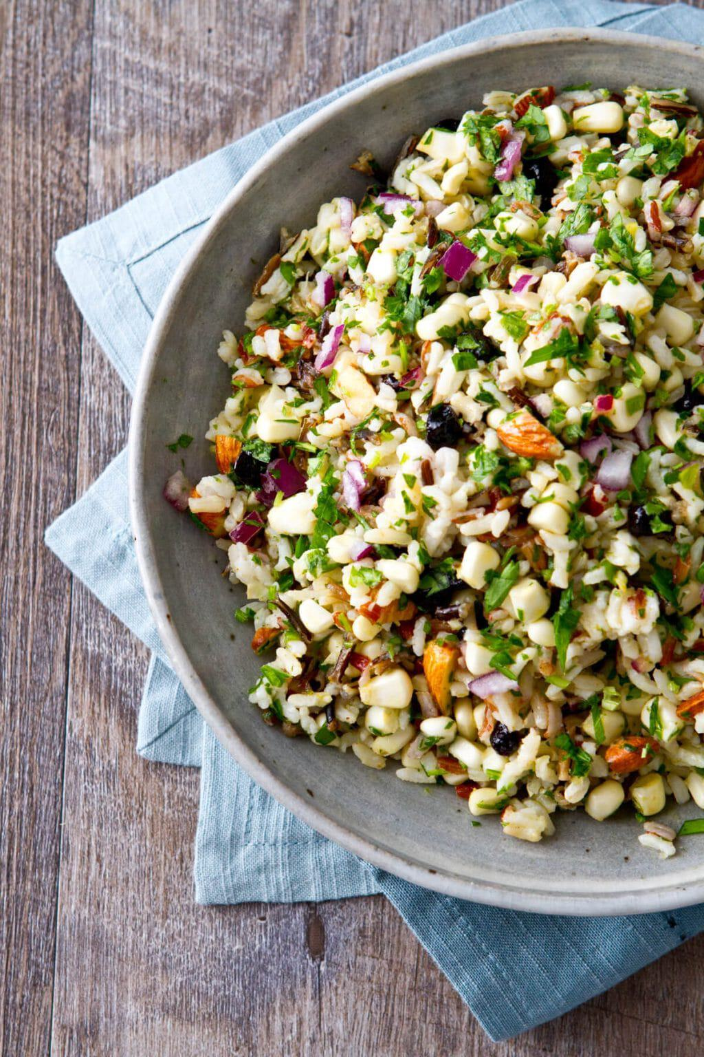 This healthy Corn and Blueberry Wild Rice Salad recipe is sweet, salty and crunchy and one you can't stop eating!