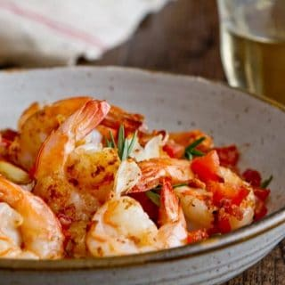 Shrimp with Crispy Pancetta, Tomatoes and Rosemary