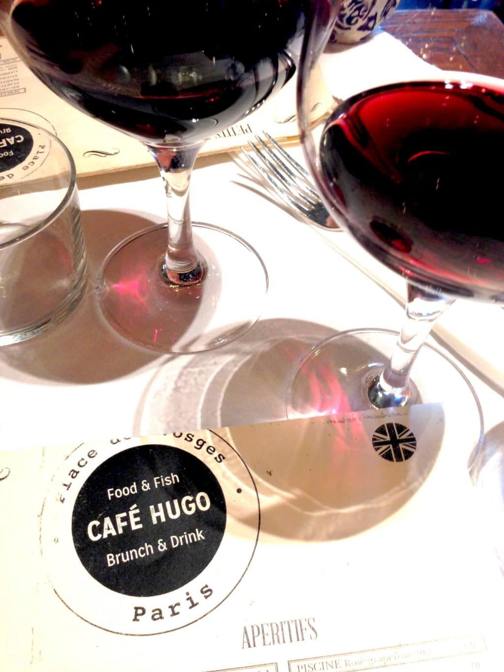 Wine at cafe hugo in Paris