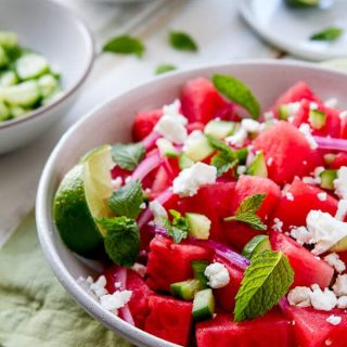 Watermelon, Mint and Cucumber Salad