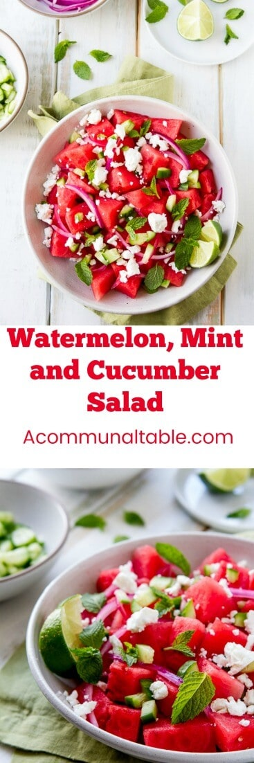 This Watermelon, Mint and Cucumber Salad recipe is my summer