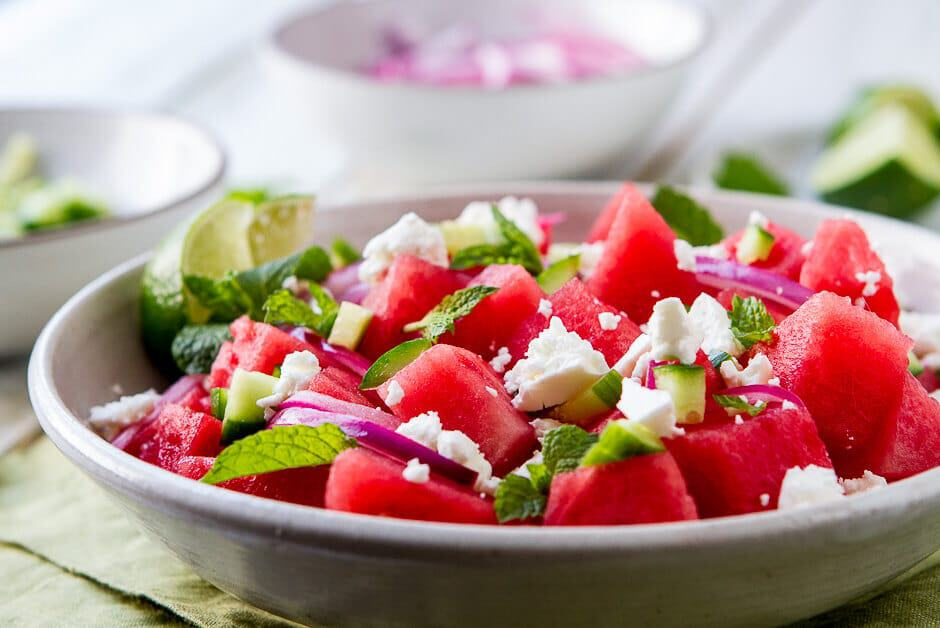 "This Watermelon, Mint and Cucumber Salad recipe is my summer ""go to"". Lime juice, briny feta and olive oil round out the flavors in this easy side dish."