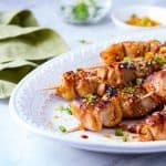 These Baked Teriyaki Style Chicken Skewers, made with soy sauce and pantry staples are topped with a flavorful sprinkle for an easy weeknight dinner!!!