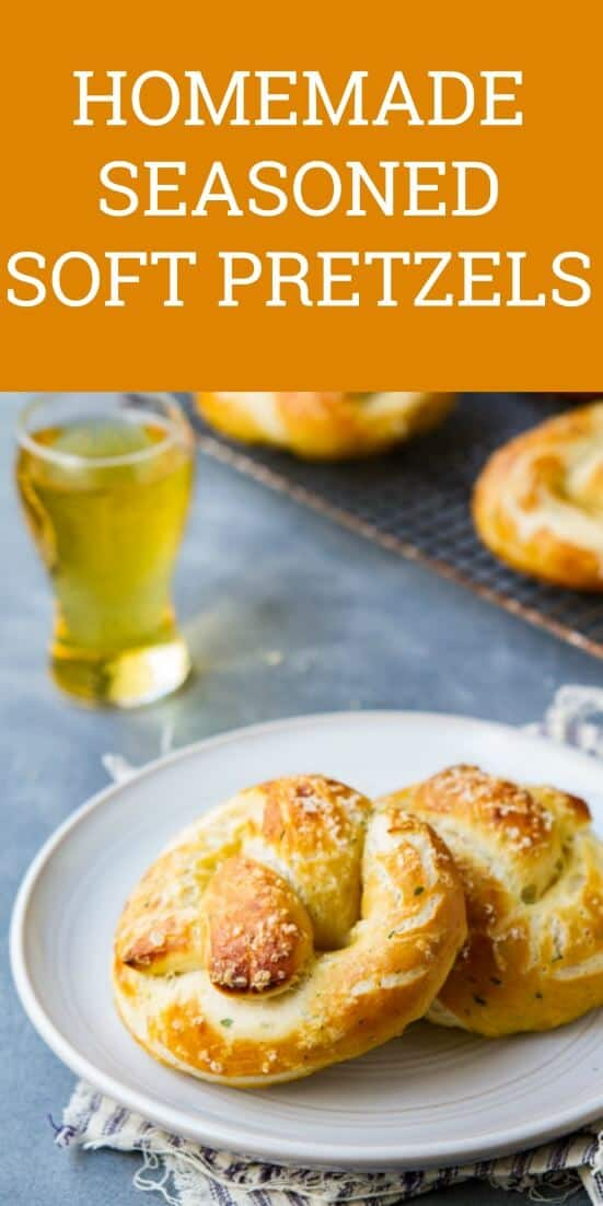 This recipe for  homemade Helles Herb Parmesan Pretzels, seasoned with parmesan, are incredibly easy to make for gameday snacking. #Pretzels #snacks #gameday