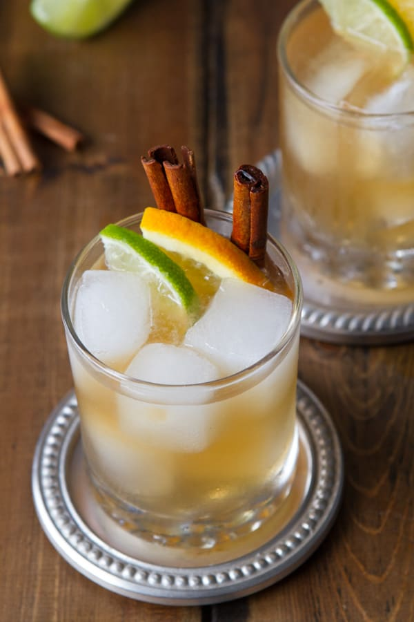 single glass of citrus and spice kentucky mule- a bourbon cocktail recipe.