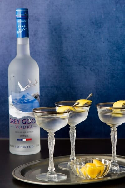 grey goose vodka with a tray of grey goose vodka martinis