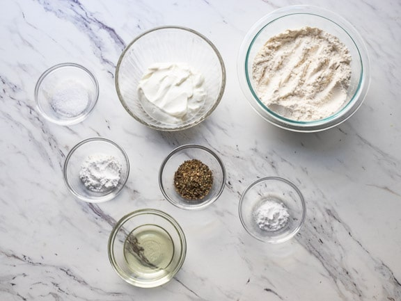 Overhead photo of the ingredients needed to make the yogurt bread recipe.