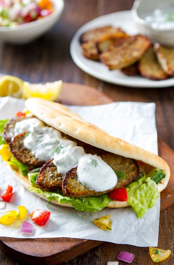 Finished Greek Turkey Gyros with tzatziki sauce