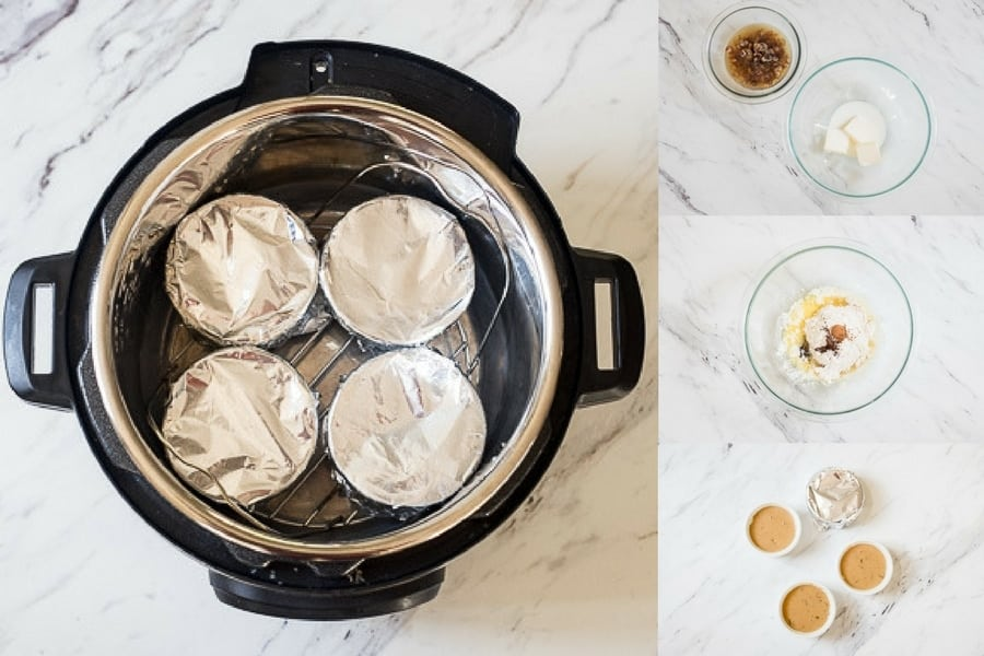 step by step photos of making and cooking the Instant Pot Bourbon sticky Toffee Pudding