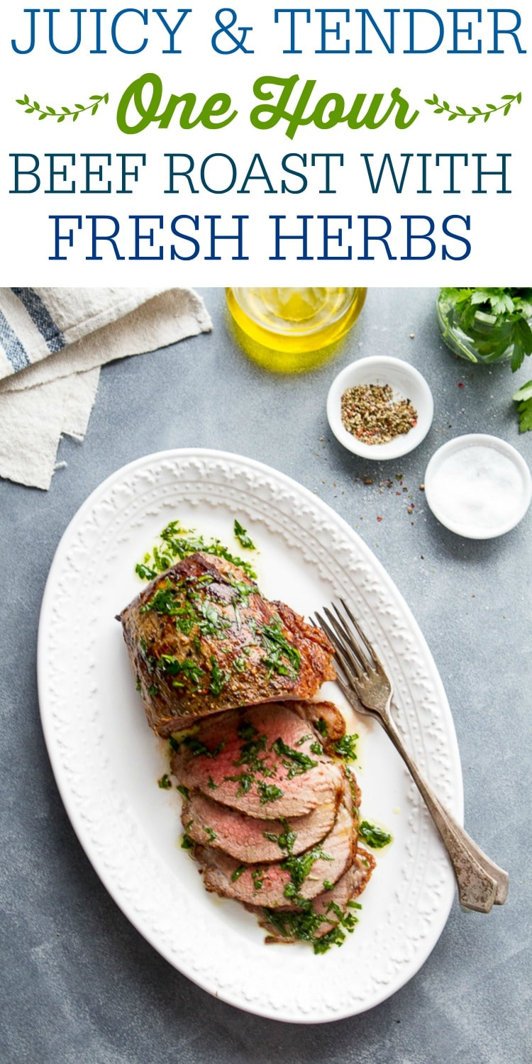 This One hour Tender Eye of Round Roast with Herb Infused Oil has amazing beef flavor like more expensive cuts of meat - but at a fraction of the price! A simple cooking technique results in a moist and delicious roast that's weeknight easy!