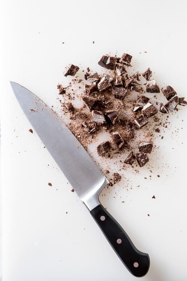 chopped mexican chocolate with knife